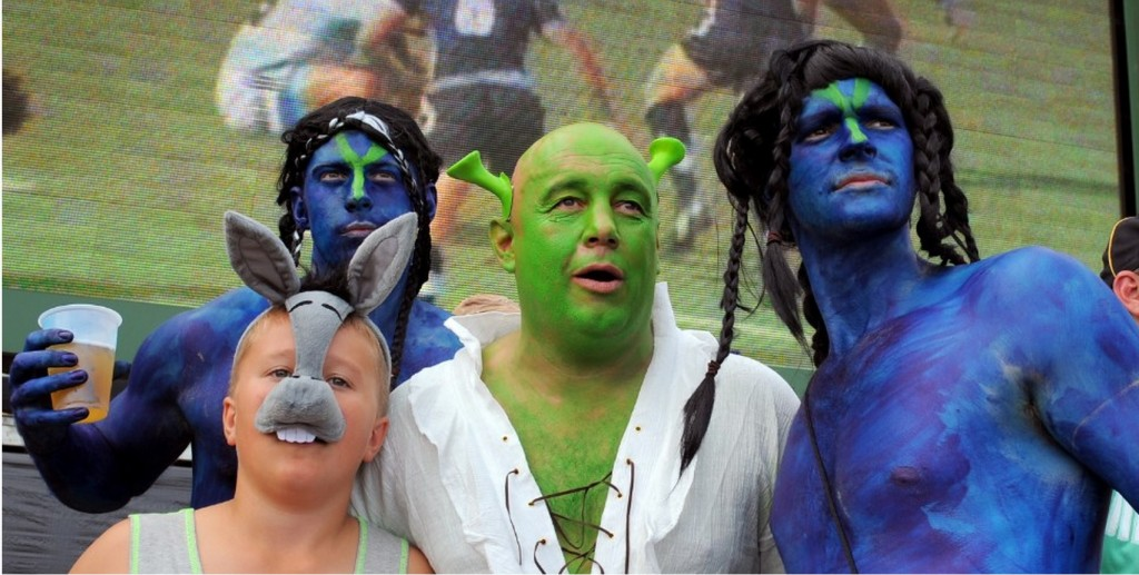 USA Rugby Sevens fans celebrate in fancy dress like Mardi Gras